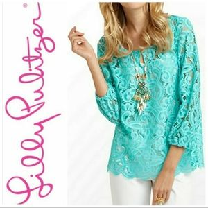 Lilly Pulitzer Telyn Lace 3/4 Sleeve Pop  Over Top